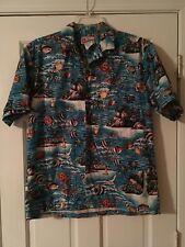 Hilo Hattie Hawaiian Shirt Size Large Tropical Fish Turtles Volcano 100% Cotton