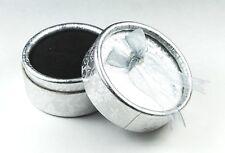 Bulk Silver Ring Boxes x 12 Round Bowknot Gift Display Black velvet sponge inner