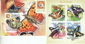 Butterflies Farfalle Guinea Bissau 5429-32 KB + Block 933 (MNH)