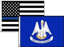 2x3 USA Police Blue Louisiana State 2 Pack Flag Wholesale Set Combo 2'x3'