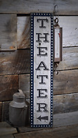 Movie Room, Home Theater, Vertical - Rustic Distressed Wood Sign ENS1000911