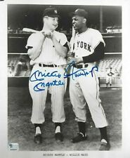 Mickey Mantle Yankees & Willie Mays Autographed 8x10 Baseball Photo PSA Letter