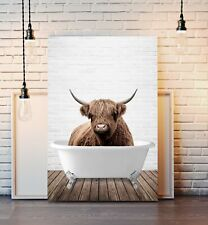 Highland Cow Animal in Bath CANVAS WALL ART PRINT ARTWORK PAINTING FRAMED POSTER