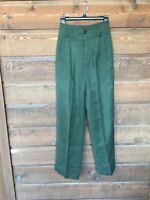 Womens Liz Sport 40s Style Vintage Green High Waisted Straight Leg Trousers