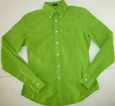 NWT RALPH LAUREN SKINNY FIT BUTTON DOWN COTTON SHIRT BRIGHT GREEN SIZE 2 T20