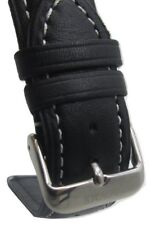 22mm Genuine Leather Italian Style Black Smooth White Stitch Watch Band Strap