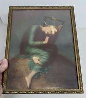 "Vintage Lorelei Nymph Of The Rhine Framed Art Print 10""x13"""
