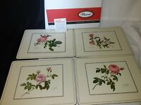 Vintage Set of 4 Pimpernel Roses Placemats Acrylic Cork~ England ~ New in Box~