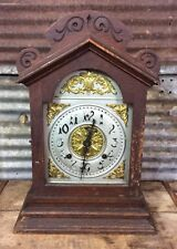 Antique Vtg Ansonia Carved ROCKWOOD Model 8 Day Time & Strike Mantel Clock PARTS