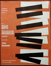 Dave Brubeck Quartet featuring Paul Desmond November – December 1961 Programme