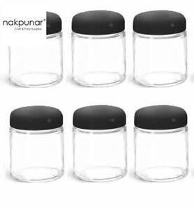 Nakpunar 2 oz 6 pcs Glass Jars with Black Plastic Dome Lids - Cosmetic cream