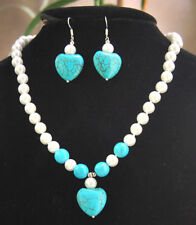 8mm White Akoya Shell Pearl & Blue Turquoise Pendant Necklace Earrings Set AAA