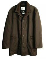 London Fog Men's Long Winter Fur Lined Winter Brown Coat Size 107R