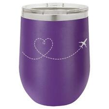 Stemless Wine Tumbler Coffee Travel Mug Glass Heart Love Travel Airplane