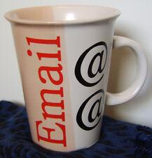 "Coffee Mug ""Email @ @"" Salmon Pink & White / computer terms"