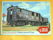 1955 Topps rails + sails card # 39 STEAM LOCOMOTIVE CLIMAX GEARED TYPE