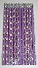 Lot Set x12 Crayons Papier Violet Licorne + Gomme 19 cm Pencils with Eraser