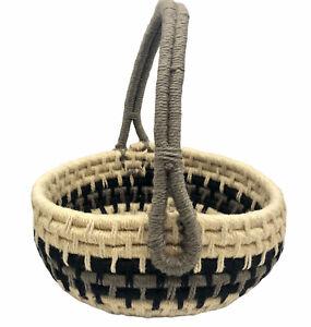 "Decorative Basket Woven Chunky Wool Handle Coil Yarn Gray Black Cream Round 12"""