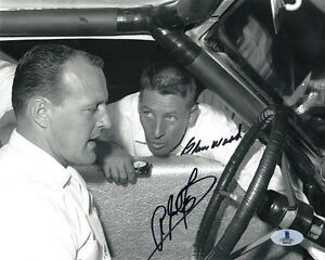 A.J. FOYT & GLEN WOOD DUAL SIGNED 8x10 PHOTO AUTO RACING LEGENDS BECKETT BAS