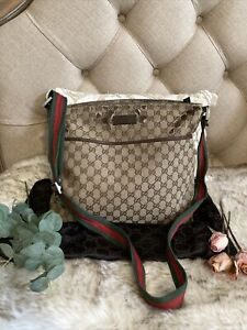 Authentic Gucci Vintage GG Web Canvas crossbody messenger tote bag ❣️❣️