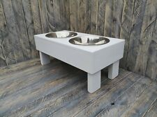 RECLAIMED WOOD RUSTIC PET DOG CAT BOWL STAND BOWLS INCLUDED 12 COLOURS 3 SIZES