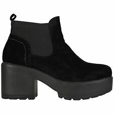 WOMENS GIRLS KIDS CHUNKY SOLE CASUAL ANKLE CHELSEA SHOES BOOTS SIZES 10-8