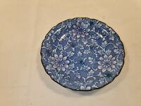 Vintage Oriental Small Plate Blue and White Floral In Great Condition