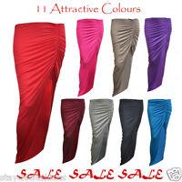 New Ladies Womens Gypsy Long Side Split Ruched Slit Maxi Skirt Celebrity Dress