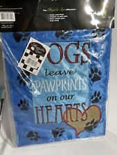 """Magnolia Lane - Dog Leave Paw prints on Your Heart Garden Flag - 12""""x18"""" New"""