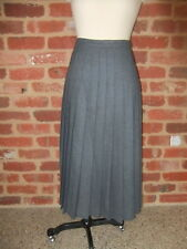 VINT PURE NEW WOOL GREY DOMINEX SKIRT WARM WINTER LONG PLEATED LINED SIZE 12 10