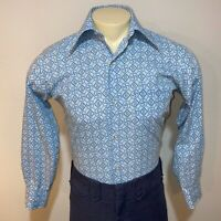 Vtg 60s 70s Blue Geometric Print KMART Disco Dress Shirt Sanforized S Mens SMALL