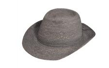 Helen Kaminski XY Delray Storm Gray Wide Brim Straw Fedora Hat NWT L