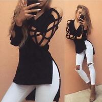UK Womens Long Sleeve Tops Ladies Casual Loose Sexy Lace Hollow Blouse Shirt AB