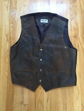 MINNETOMKA Vest Brown Brushed Suede Leather Snap Closure 3 Pockets M