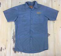 WORK WEAR: Vtg Light Blue Distressed Worn S/S Rockabilly Shop Shirt, Mens MEDIUM