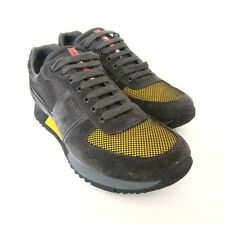 S-1391150 New Prada Blk w/Yellow Suede Fabric Sneakers Shoes Sz US 12 Marked 11