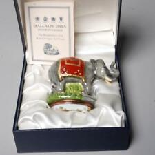HALCYON DAYS RARE ELEPHANT TRINKET BOX BONBONNIERE, RED CEREMONIAL BLANKET