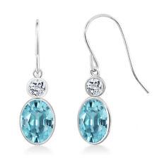 2.68 Ct Oval Blue Zircon White Topaz 14K White Gold Earrings