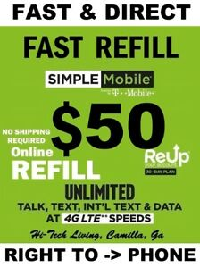 $50 SIMPLE MOBILE ⭐ FAST AND RELIABLE DIRECT REFILL ⭐ TRUSTED USA SELLER ⭐