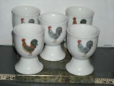 collectible chicken rooster s one red one gray egg cups set of 4 plus an extra