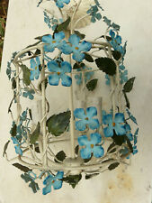 Vintage Italian Tole Painted Flowers Metal Hanging Chandelier Cage