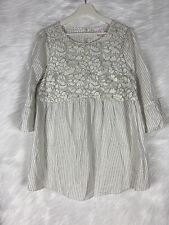 Isabel Maternity Floral Lace 3/4 Bell Sleeve Striped Tunic Blouse Size Medium