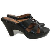 Sofft Sandals Slides Heels Black Leather Womens Size 7M