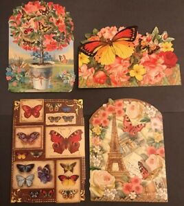 Butterflies note cards Cut Out The Kirshner Collection Ephemera Lot Of 4 Craft