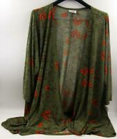 Lularoe Lindsay Olive Green/Red  Women's Cardigan Sz M  *New W/ No Tags*