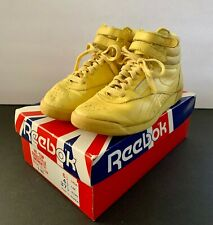 Vintage Reebok Yellow Hi-Top Freestyle Women's Athletic Shoes - Size 6.5