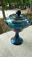 VINTAGE INDIANA CARNIVAL GLASS GRAPE HARVEST BLUE AMETHYST COVERED CANDY COMPOTE