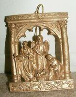 Gold Tone Relief Nativity Manger Religious Xmas Christmas Ornament