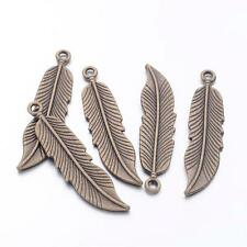 10 x Tibetan Antique Bronze Feather Charm Pendants for crafts cards jewellery