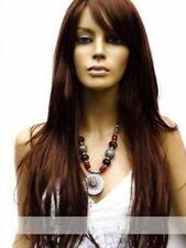 100% Real hair! Hot New Fashion Women's Long Dark Brown Straight Human Hair Wigs